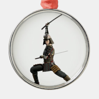 samurai with two swords looking to the front Silver-Colored round ornament