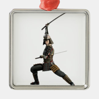 samurai with two swords looking to the front Silver-Colored square ornament