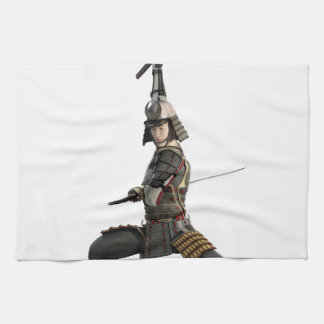 samurai with two swords looking to the front towel