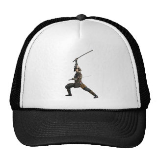 samurai with two swords looking to the front trucker hat