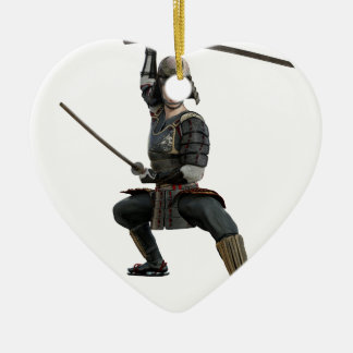 samurai with two swords ready looking to the front ceramic heart ornament