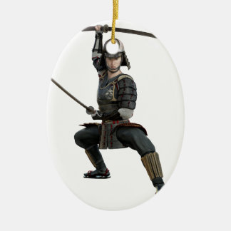 samurai with two swords ready looking to the front ceramic oval ornament