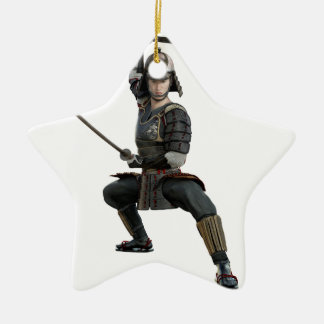 samurai with two swords ready looking to the front ceramic star ornament