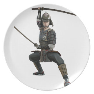 samurai with two swords ready looking to the front plate