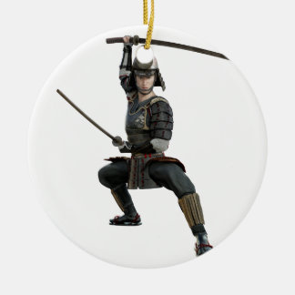 samurai with two swords ready looking to the front round ceramic ornament