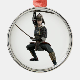 samurai with two swords ready looking to the front Silver-Colored round ornament