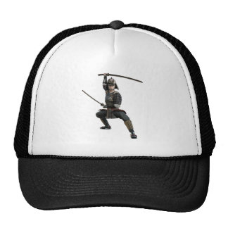 samurai with two swords ready looking to the front trucker hat