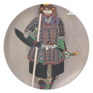 Samurai Yukimori 山中幸盛 by Yoshitoshi 月岡芳年 Plate