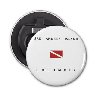San Andres Island Colombia Scuba Dive Flag Button Bottle Opener