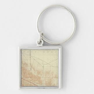 San Antonio quadrangle showing San Andreas Rift Silver-Colored Square Keychain
