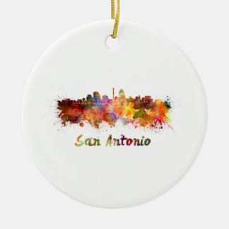 San Antonio skyline in watercolor Ceramic Ornament