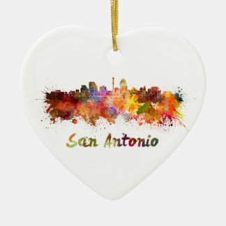 San Antonio skyline in watercolor Ceramic Ornament