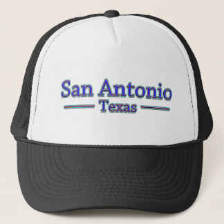 San Antonio Texas in Blue & Red Trucker Hat