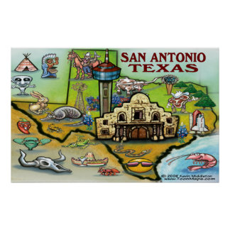 San Antonio TEXAS Map Poster