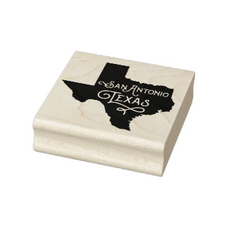San Antonio Texas Script Rubber Art Stamp