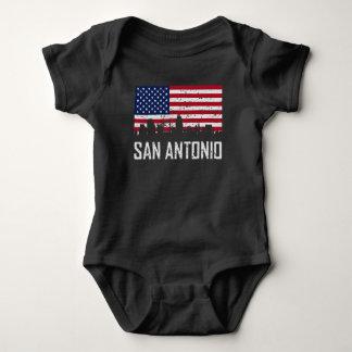 San Antonio Texas Skyline American Flag Distressed Baby Bodysuit