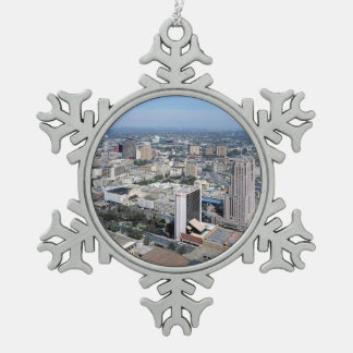 San Antonio Texas Skyline Snowflake Pewter Christmas Ornament