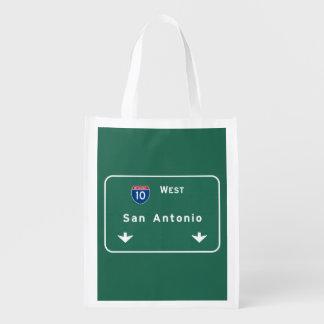 San Antonio Texas tx Interstate Highway Freeway : Reusable Grocery Bag