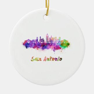San Antonio V2 skyline in watercolor Ceramic Ornament