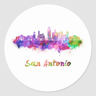 San Antonio V2 skyline in watercolor Classic Round Sticker