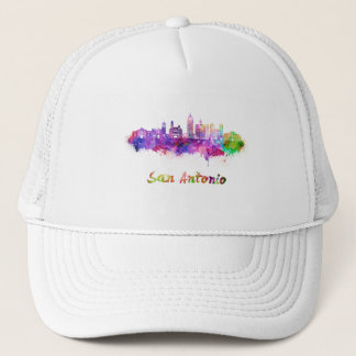 San Antonio V2 skyline in watercolor Trucker Hat