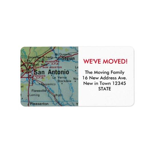 San Antonio We've Moved label