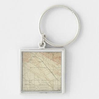 San Bernardino quadrangle showing San Andreas Rift Silver-Colored Square Keychain