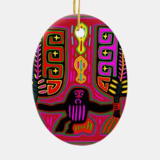 San Blas Kuna Man with Fans Ceramic Oval Ornament