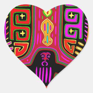 San Blas Kuna Man with Fans Heart Sticker