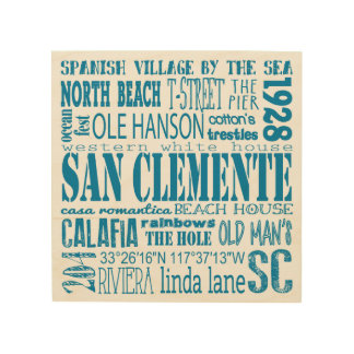 San Clemente California City Subway Art Wood Canvas