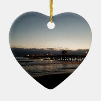 san clemente pier night time ocean california ceramic ornament