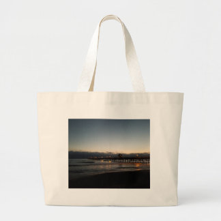 san clemente pier night time ocean california large tote bag