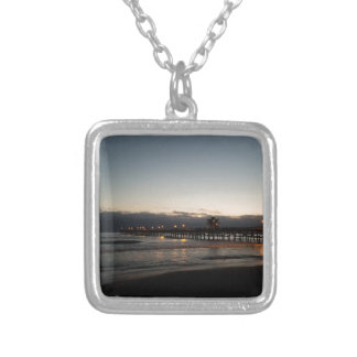 san clemente pier night time ocean california silver plated necklace