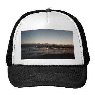 san clemente pier night time ocean california trucker hat