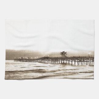 San Clemete pier California beach vintage photo Kitchen Towel