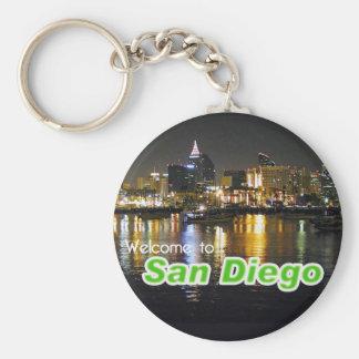 San Diego at Night Basic Round Button Keychain