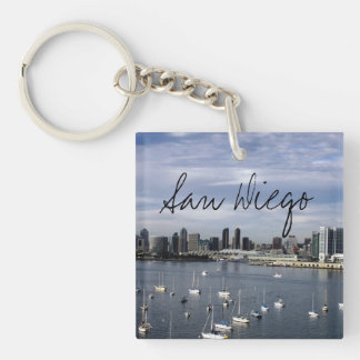 San Diego Bay and Skyline Single-Sided Square Acrylic Keychain