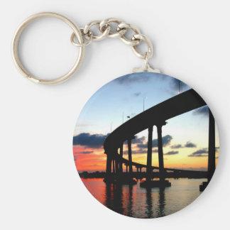San Diego Bridge Sunset Basic Round Button Keychain