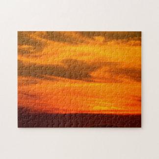 San Diego Brilliant Yellow Orange Red Sunset Puzzle