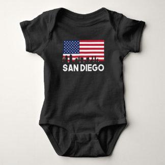 San Diego CA American Flag Skyline Baby Bodysuit