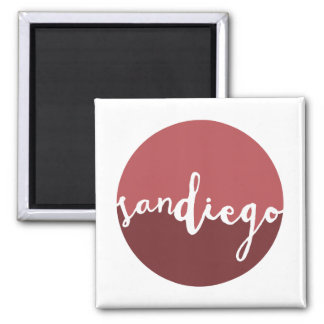 San Diego, CA | Rust Ombre Circle Square Magnet