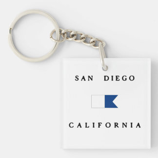 San Diego California Alpha Dive Flag Double-Sided Square Acrylic Keychain
