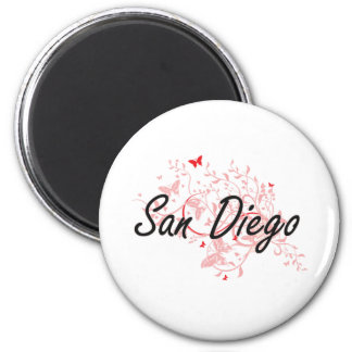 San Diego California City Artistic design with but 2 Inch Round Magnet