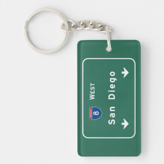 San Diego California Interstate Highway Freeway : Single-Sided Rectangular Acrylic Keychain