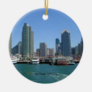 San Diego, California Skyline Ceramic Ornament