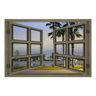 San Diego City Scape Through An Open Window Poster