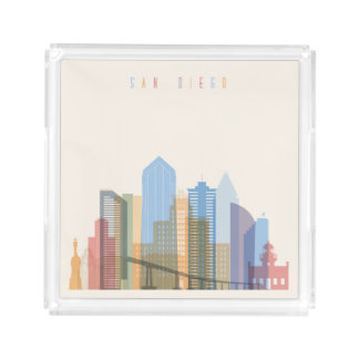 San Diego City Skyline Acrylic Tray