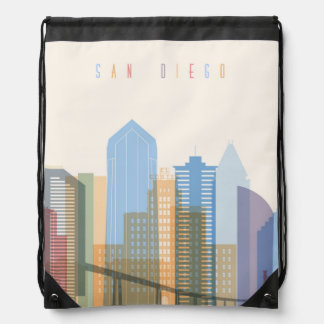 San Diego City Skyline Drawstring Bag