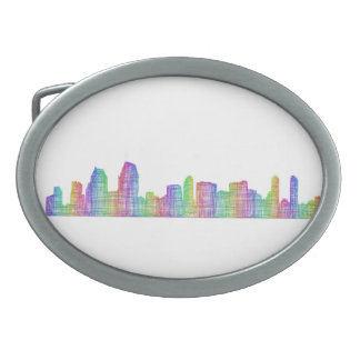 San Diego city skyline Oval Belt Buckles