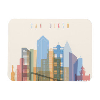 San Diego City Skyline Rectangular Photo Magnet